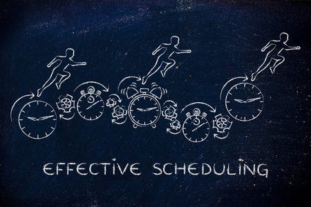 schedule: effective scheduling: people running on clocks, stopwatches, alarms & gearwheels Stock Photo