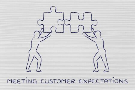 expectations: meeting customer expectations: people with unique matching pieces of puzzle