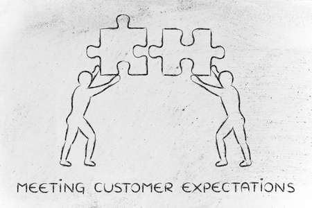meeting customer expectations: people with unique matching pieces of puzzle