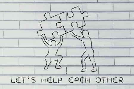 matching: lets help each other: people lifting up two matching pieces of puzzle