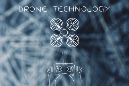 wireless tool: drone technology, quadcopter style device piloted with a remote control