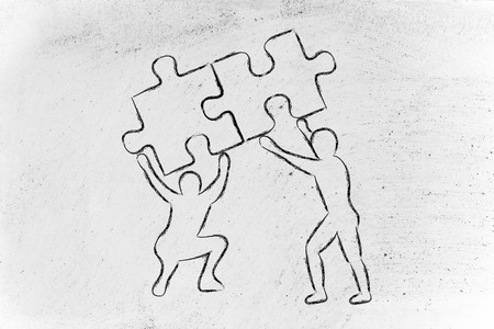 matching: concept of teamwork solution: people lifting up two matching pieces of puzzle