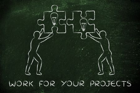 joint effort: work for your projects: people about to match two pieces of puzzle with lightbulb sign