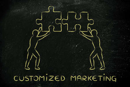 customized: customized marketing: people with unique matching pieces of puzzle