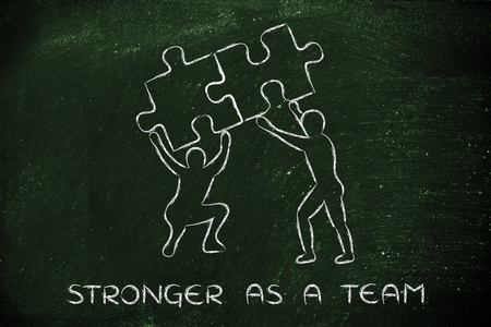 matching: stronger as a team: people lifting up two matching pieces of puzzle