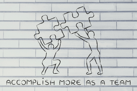 accomplish: accomplish more as a team: people about to match two pieces of puzzle, metaphor of being close to a solution