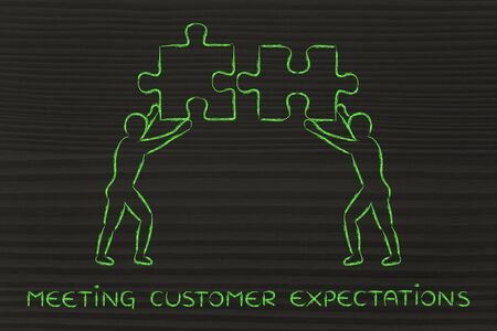 matching: meeting customer expectations: people with unique matching pieces of puzzle