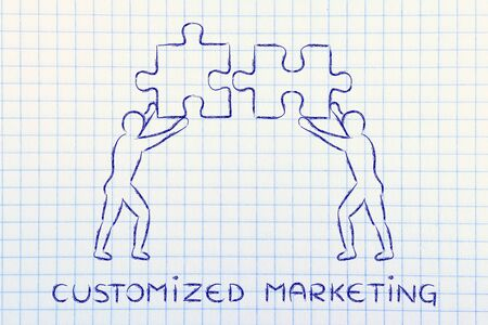matching: customized marketing: people with unique matching pieces of puzzle