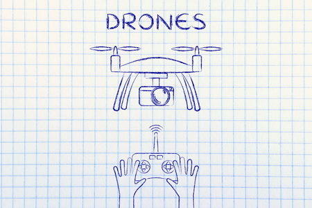 wireless tool: drones, device with camera piloted with a remote control