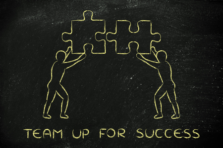 matching: team up for success: people with unique matching pieces of puzzle