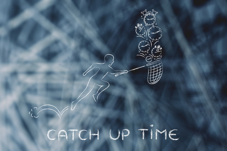 catch up: catch up time: man with small net running to collect clocks