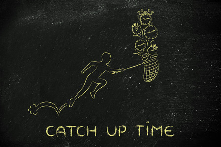 catch up time: man with small net running to collect clocks
