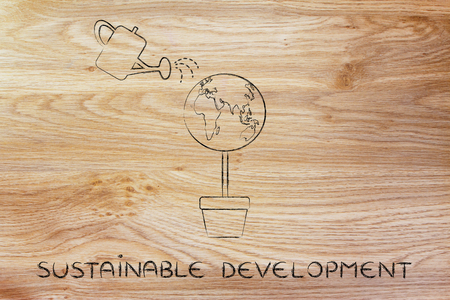desarrollo sustentable: desarrollo sostenible: Árbol con globo del mundo en lugar de follaje y regadera Foto de archivo