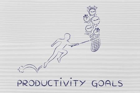 cobrar: los objetivos de productividad: Hombre con peque�os corriendo red para recoger los relojes