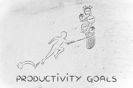 cobrar: productivity goals: man with small net running to collect clocks Foto de archivo