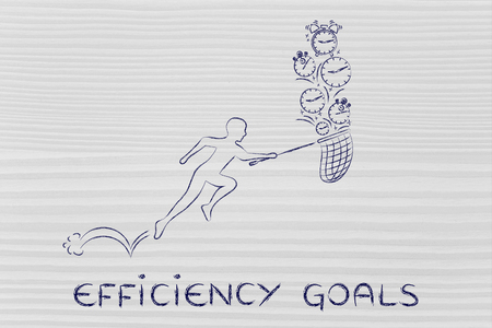 collect: efficiency goals: man with small net running to collect clocks