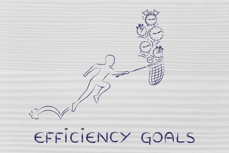 recoger: los objetivos de eficiencia: el hombre con pequeños corriendo red para recoger los relojes