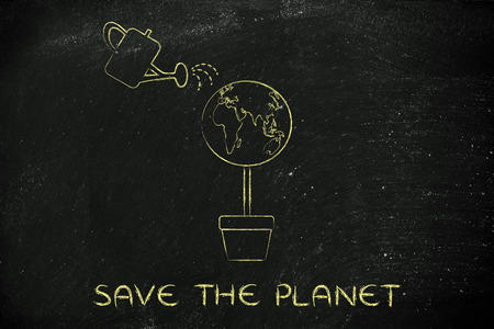 social behaviour: save the planet: tree with world globe instead of foliage and watering can