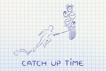 cobrar: tiempo de ponerse al d�a: hombre con peque�os corriendo red para recoger los relojes