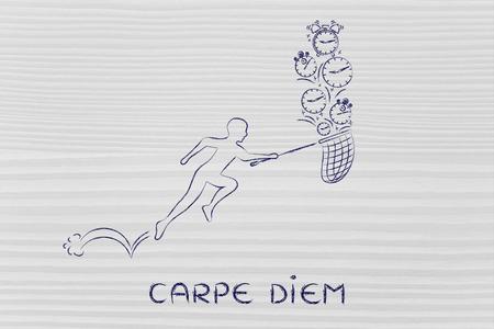 carpe diem: carpe diem: man with small net running to catch clocks
