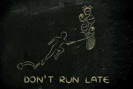 recoger: dont run late: man with small net running to collect clocks