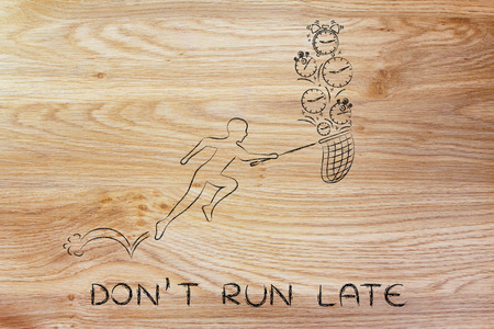cobrar: dont run late: man with small net running to collect clocks
