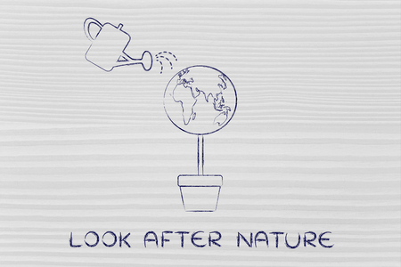 look after: look after nature: tree with world globe instead of foliage and watering can