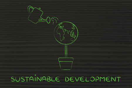 sustainable development: sustainable development: tree with world globe instead of foliage and watering can
