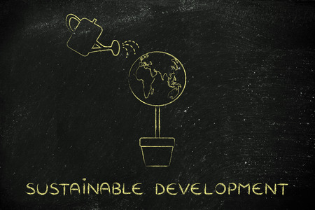 desarrollo sostenible: desarrollo sostenible: Árbol con globo del mundo en lugar de follaje y regadera Foto de archivo
