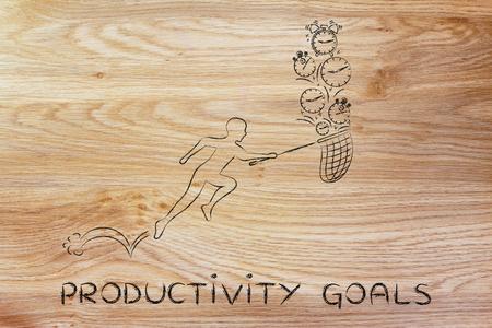 recoger: los objetivos de productividad: Hombre con pequeños corriendo red para recoger los relojes