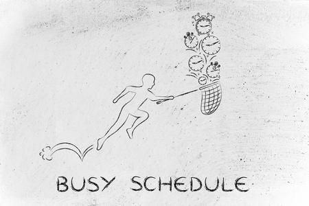 recoger: apretada agenda: hombre con pequeños corriendo red para recoger los relojes Foto de archivo