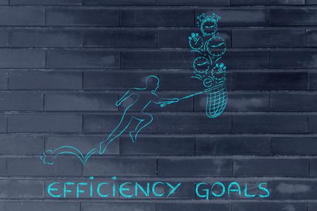 cobrar: los objetivos de eficiencia: el hombre con peque�os corriendo red para recoger los relojes