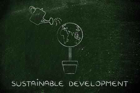 持続可能な開発: 葉とじょうろ代わりに地球儀を持つツリー