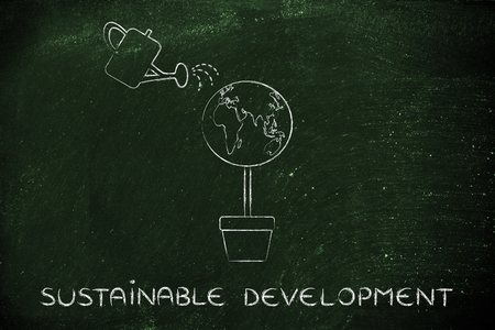 sustainable development: tree with world globe instead of foliage and watering can