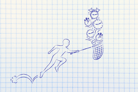 concept of catching up and time management: man with small net running to catch clocks