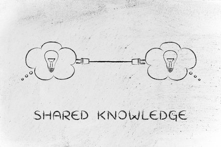 shared: shared knowledge: thought bubbles with lightbulb connected with a plug