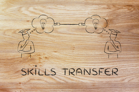 tranfer: skills tranfer: people with thought bubbles connected with a plug