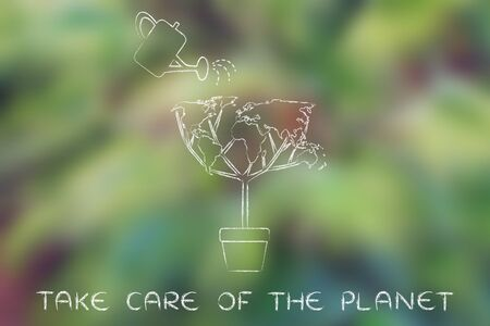 social behaviour: take care of the planet: tree with foliage in shape of world map and watering can