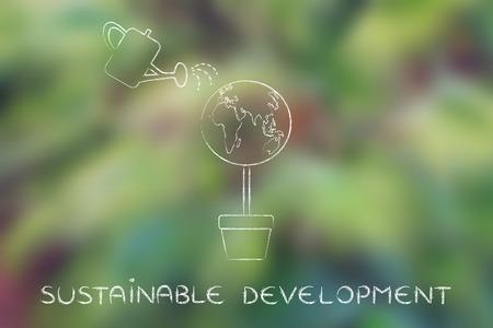 desarrollo sustentable: desarrollo sostenible: Árbol con follaje en forma de globo del mundo y poder de riego