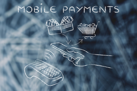 authentification: mobile payments, customer using near field communication via smartphone at pos