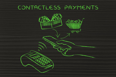 authentification: contactless payments, customer using nfc technology via smartphone at pos
