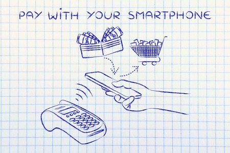 pay with your smartphone, customer using near field communication via mobile at pos