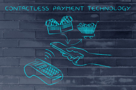 contactless payments technology, customer using near field communication via smartphone at pos