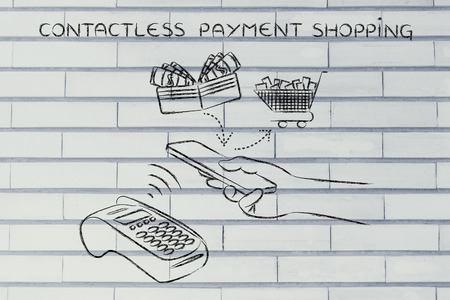authentification: contactless payments shopping, customer using near field communication via smartphone at pos Stock Photo