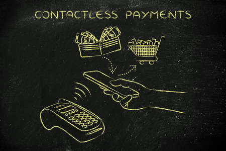 pos: contactless payments, customer using nfc technology via smartphone at pos