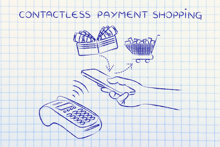 contactless: contactless payments shopping, customer using near field communication via smartphone at pos Stock Photo
