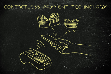 contactless: contactless payments technology, customer using near field communication via smartphone at pos