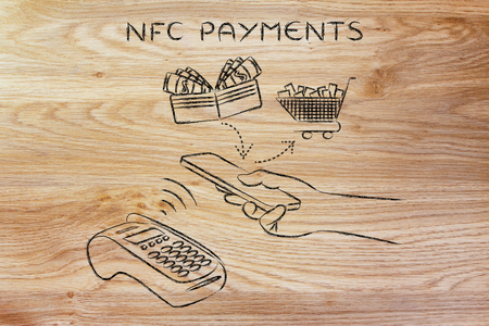 nfc payments, customer using his smartphone to make a purchase at pos