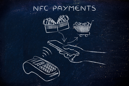 authentification: nfc payments, customer using his smartphone to make a purchase at pos