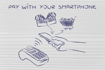 authentification: pay with your smartphone, customer using near field communication via mobile at pos